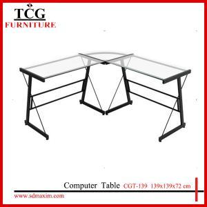 China TCG 2015 new  glass l shape computer desk CGT-139 on sale