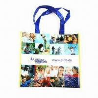 China Recyclable PP Woven Shopping Bag with Printing and Non-woven Handle, Customized Colors are Accepted on sale