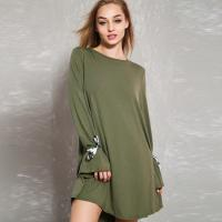 Quality Latest Sexy Olive Tie Sleeve Open Back Tunic Casual Dress For Fashion Women wholesale