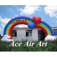 Quality custom colorful so happy inflatable rainbow arch with led lights for wedding decoration wholesale