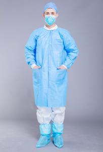 China SMS Blue Disposable 35GSM Polypropylene Lab Coat on sale