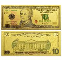 China US 10 dollar Gold Foil Banknote World Currency for Souvenir on sale