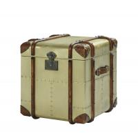 Quality Office Lifted Cover Brass Leather Storage Trunk Full Genuine Leather Handle wholesale