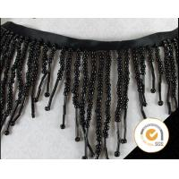 China Wholesale Black Bead Fringes Trim Beaded Trimming Embroidery Applique Trimming on sale
