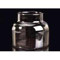 Quality Machine Decorative Glass Candle Holder , Brown Smoking Grey Glass Candle Jars Container wholesale