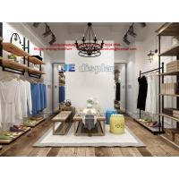 China Women Cloth Store design in raw timber wall racks and black metal hangers cabinets on sale