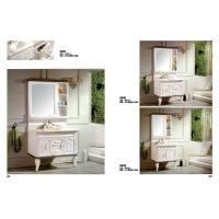 Quality Waterproof PVC Bathroom Washbasin Cabinet Marble Top Vanity Sink Cabinet With Mirror wholesale