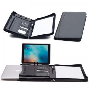 Faux Leather Business Portfolio Folder Classic Black With Solar Calculator