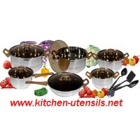 Quality 15 PCS glass lid 201/202/304 stainless steel jumbo cookware sets wholesale