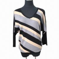 Quality Ladies' v neck long sleeve jumper, made of 60% viscose and 40% nylon wholesale