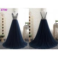 Quality V neckline backless straps beading A line dark bule tulle evening dress wholesale