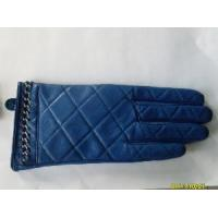 Quality Blue Grid Leather Gloves (BL1014) wholesale