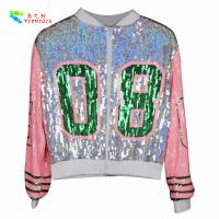 Quality Casual Silver Pink Womens Sequin Clothing Zip Up Bomber Jacket Free Size wholesale