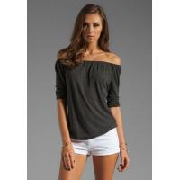 Quality Sexy Black Off Shoulder Rayon Ladies Tee Shirts Long Sleeve For Summer wholesale