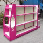 Quality Multi Sizes 4 Levels Metal Gondola Shelving Double Side Display Racks Pink For Retail shop wholesale