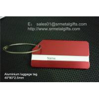 China Aluminum luggage tag with wire cable loop, brushed aluminium luggage tag, on sale