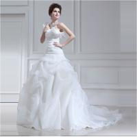 Quality Long trail Tulle halter ruffled One Shoulder Wedding Gowns with Lotus Leaf Edge wholesale
