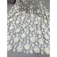 Quality 3D Embroidered Flower Beaded Wedding Gown Lace Fabric Anti-static Fashion wholesale