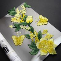 Quality Yellow Flower Sew On Embroidered Patches Lace Appliques For Clothing 14 X 32 CM wholesale
