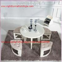 Quality White painting Circular Leisure time tea table and upholstery stool wholesale