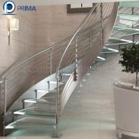 Quality Commercial Indoor Iron Curved Staircase with Glass Railing Designs wholesale