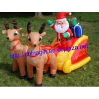China 2.1 Meter Inflatable Santa Claus & Penguin on Sleigh Pulled by 2 Reindeer Lawn Decoration on sale