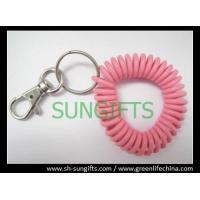 China Plastic wrist coil with key ring and metal hook, spring coil key chain on sale