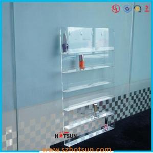 Cheap Clear Acrylic Nail Polish Wall Display Rack, custiomized tier nail polish rack for sale