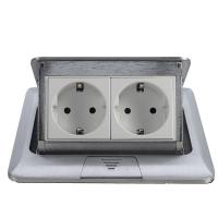Quality Popular Silver EU Plug Pop Up Double Floor Socket / 2 Gang Power Socket wholesale