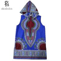 China 100 Percent Cotton Mens Hoodie African Print Tops Clothing Sleeveless Multi Colors on sale