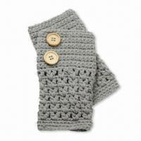 Quality Hand-knit Gloves, Fingerless with Buttons, Made of Acrylic, Customized Colors are Accepted wholesale