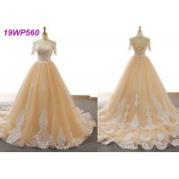 Quality Nude Tulle Multi Colored Wedding Gowns With 3/4 Sleeve Sexy Vintage Appliques wholesale