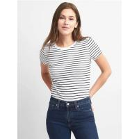 China Knit Crew Neck Women's Casual T Shirts Cotton Care Striped Slim Fit Tees on sale