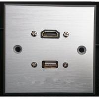 Quality HDMI & USB Aluminum Alloy Wall Plate , Electrical Wall Socket For Hotel / Home wholesale