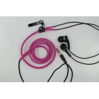 China In-ear Zipper Wired Earphones Pink 3.5mm with Microphone Volume Control on sale