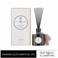 Quality Black round bottle glass reed diffuser with tassel and white rigid gift box wholesale
