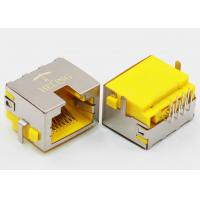 Quality Right Angle 8P8C RJ45 Female PCB Connector Tab Up Yellow Housing Sinking wholesale