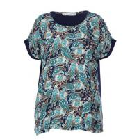 China Round Neck Two Fabrics Women'S Clothing Blouses Printed With Short Sleeve on sale