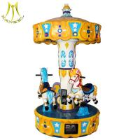 Quality Hansel children park game 3 seats backyard carousel pony ride with music wholesale