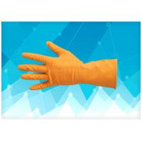 China Dip Flock - Lined Non Powdered Latex Gloves , Orange Color Latex Exam Gloves on sale