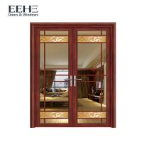 China Customized Sized French Aluminium Swing Door With Stained Glass High Strength on sale