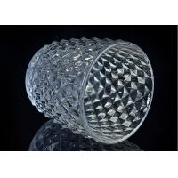 Cheap Diamond Shape decorative candle holders Embossed glass tealight candle holders for sale