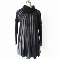 China Ladies's Knitted Dress with Pile Collar, Made of 55% Polyester, 20% Acrylic, 20% Nylon and 5% Wool on sale