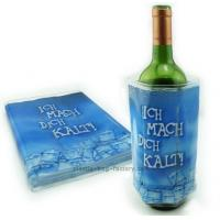China ECO friengdly plastic reusable wine bottle cooler with full color printing on sale
