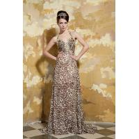 Quality Gorgeous A-line Halter V Neck Chiffon Evening Gown Leopard Party Dresses With Beads wholesale