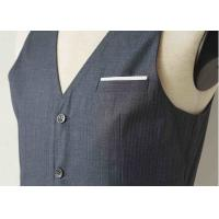 Quality Big Stripe Mens Three Piece Suit , Grey Wool Three Piece Suit Anti - Wrinkle wholesale