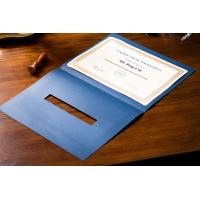 Quality Rally Blue Certificate Paper Holder , Silver Hot Stamping Padded Certificate Folder wholesale