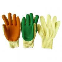 China nylon lining green nitrile latex coated foaming safety working glove on sale
