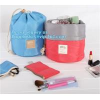 Quality waterproof big container cylinder cosmetic make up bag with 3 mini bags, cosmetic bag, make up bag, bagplastics bagease wholesale