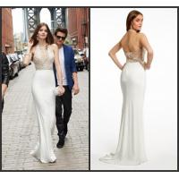 Quality Luxurious Womens Prom Dresses Sleeveless in White , Hollow Back wholesale